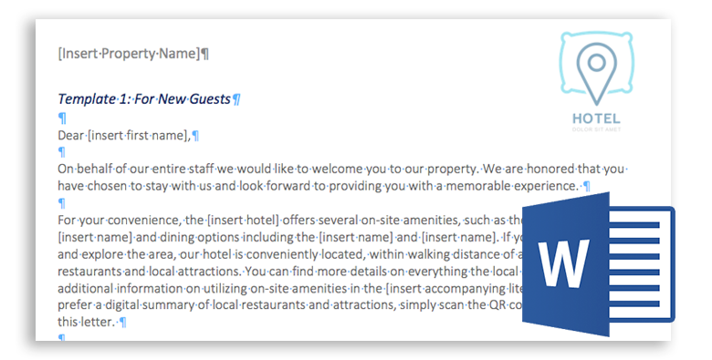 free hotel guest group welcome letter template